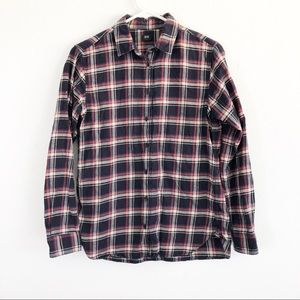 Uniqlo Plaid Red & Blue Button Up Flannel Shirt